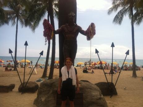 En staty på Waikiki Beach